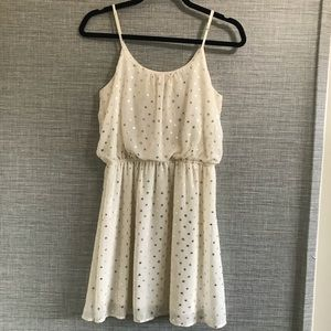 Francesca Pearl Gold Dotted Sleeveless Dress